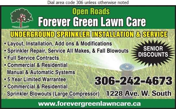 Open Roads Forever Green Lawn Care - Sprinklers Garden & Lawn Digital Ad