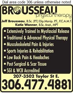 Brousseau Physical Therapy - Physiotherapists Digital Ad