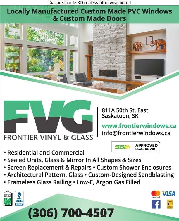 Frontier Vinyl & Glass - Glass Auto, Float, Plate, Window Etc Digital Ad