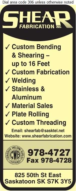 Shear Fabrication Ltd - Steel Fabricators Digital Ad