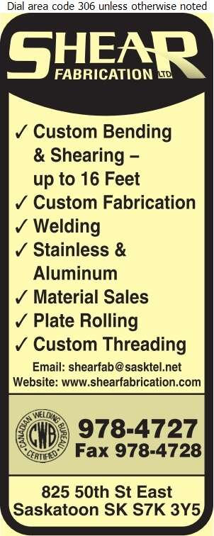 Shear Fabrication Ltd - Welding Digital Ad