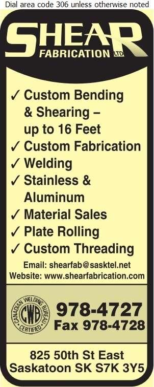 Shear Fabrication Ltd - Welding Digital Ad