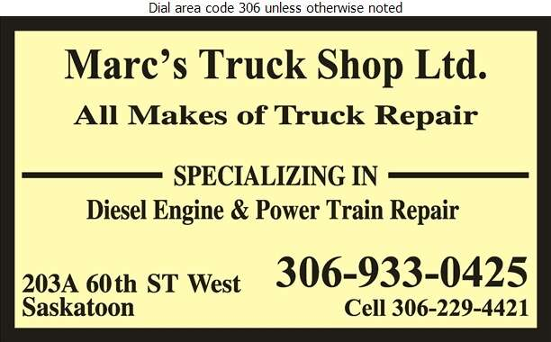 Marc's Truck Shop Ltd - Truck Repairing & Service Digital Ad