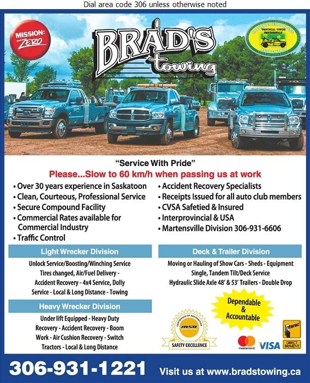 Brad's Towing Ltd - Towing & Boosting Service Digital Ad