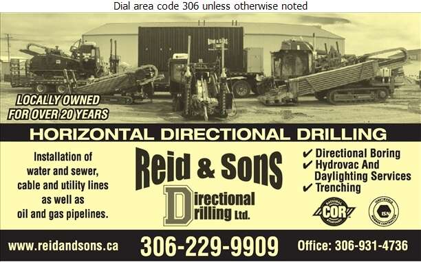 Reid & Sons Directional Drilling Ltd - Drilling Contractors - Horizontal Digital Ad