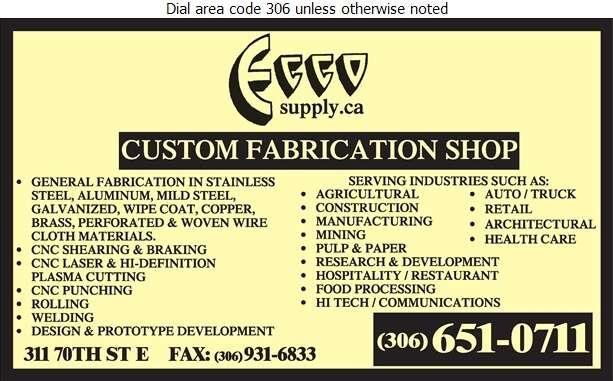 Ecco - Custom Metal Fabrication Shop - Steel Fabricators Digital Ad