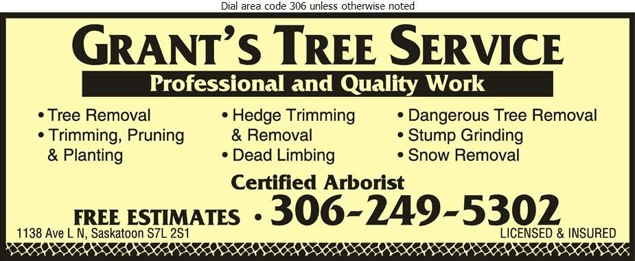Grant's Tree Service - Tree Service & Stump Removal Digital Ad