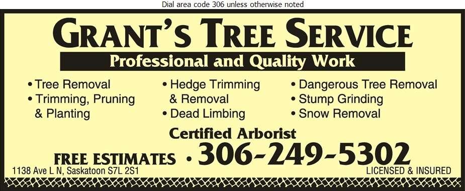 Grant's Tree Service - Tree Service & Stump Removal Digital Ad