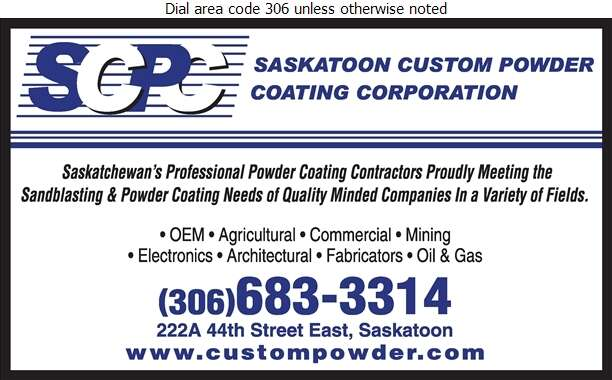 Saskatoon Custom Powder Coating Corporation - Powder Coating Digital Ad