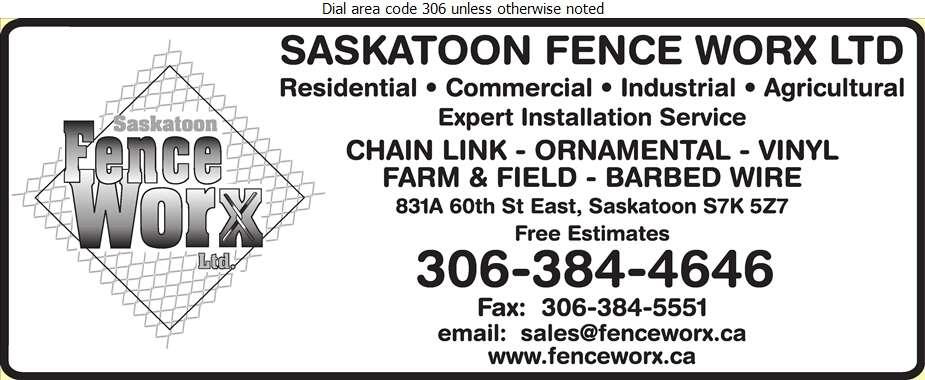 Saskatoon Fence Worx Ltd - Fences Digital Ad