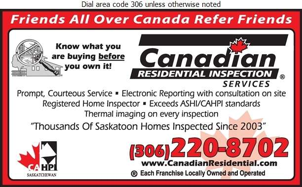 Canadian Residential Inspection Services Saskatoon - Home Inspections Digital Ad