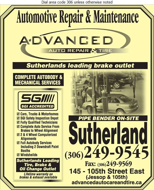 Advanced Auto Repair & Tire Ltd - Brake Service Digital Ad