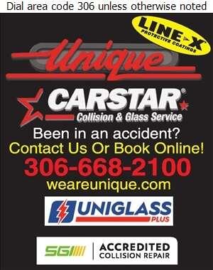 Unique Collision Auto Glass & Line-X Coatings - Auto Body Repairing Digital Ad
