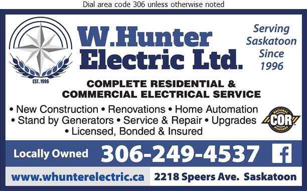 W Hunter Electric Ltd - Electric Contractors Digital Ad