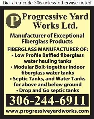 Progressive Yard Works Ltd - Tanks Fiberglass, Plastic, Rubber, etc Digital Ad