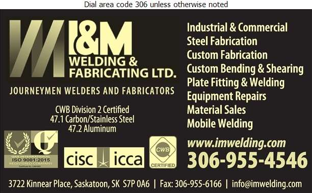 I & M Welding & Fabricating Ltd - Steel Fabricators Digital Ad