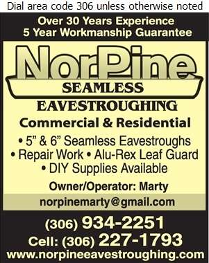 Norpine Eavestroughing & Exteriors - Eavestroughing Digital Ad