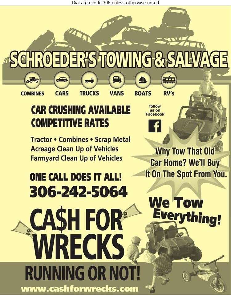 Schroeder's Towing & Salvage - Auto Wrecking Digital Ad