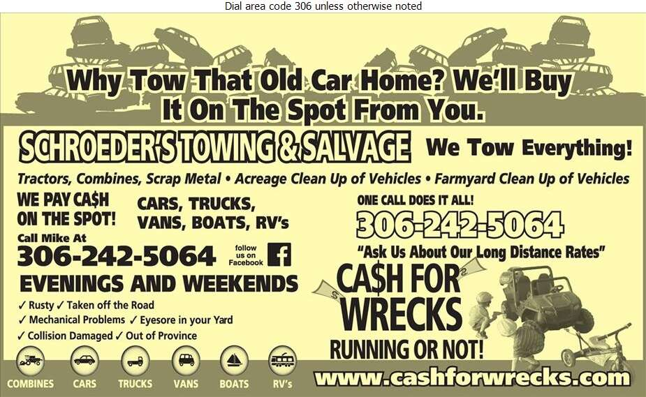 Schroeder's Towing & Salvage - Towing & Boosting Service Digital Ad