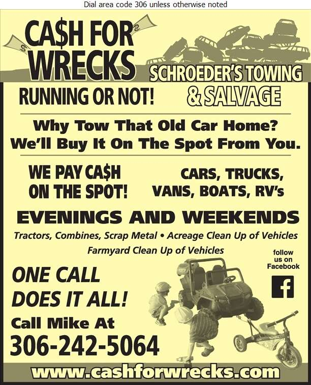Schroeder's Towing & Salvage - Scrap Metals Digital Ad