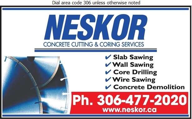 Neskor Cutting & Coring (Regina Office) - Concrete Breaking & Cutting Digital Ad