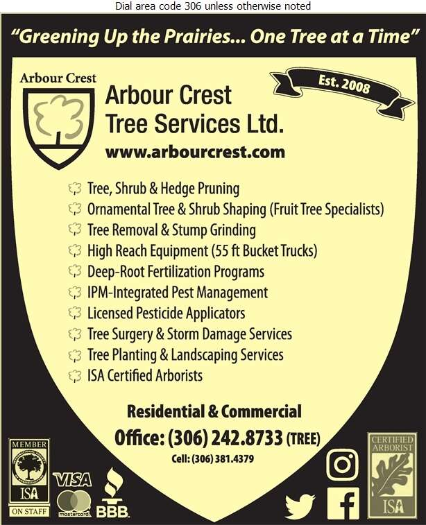 Arbour Crest Tree Services Ltd - Tree Service & Stump Removal Digital Ad