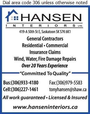 Hansen Interiors Ltd - Fire Damage Restoration Digital Ad