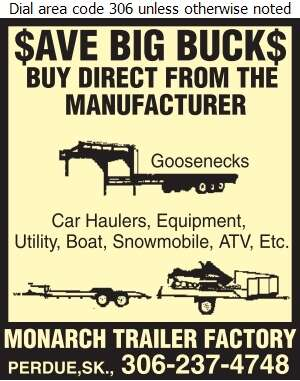 Monarch Trailer Factory - Trailers Auto, Boat, Utility, Etc Digital Ad