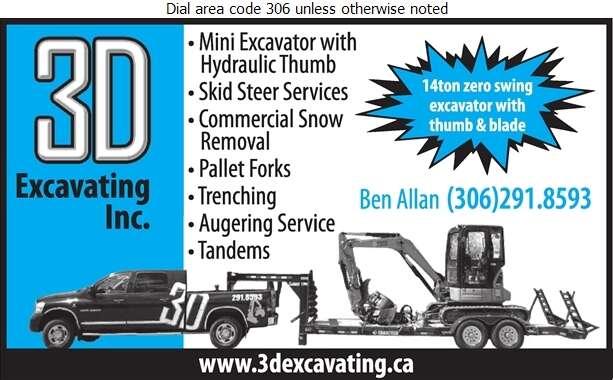 3D Excavating - Excavating Contractors Digital Ad