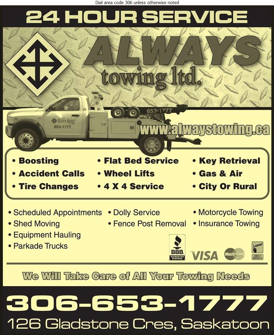 Always Towing Ltd - Towing & Boosting Service Digital Ad