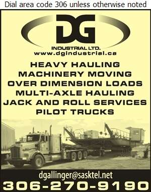 DG Industrial Ltd - Movers Heavy Hauling Digital Ad