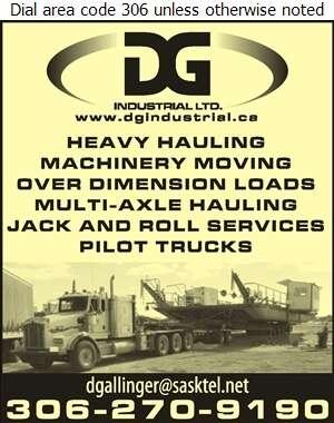 DG Industrial Ltd - Movers Heavy Hauling Digital Ad