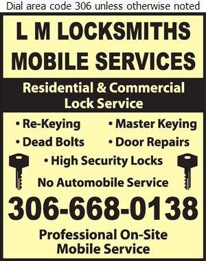L M Locksmiths Mobile Services - Locksmiths Digital Ad