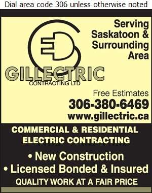 Gillectric Contracting Ltd - Electric Contractors Digital Ad