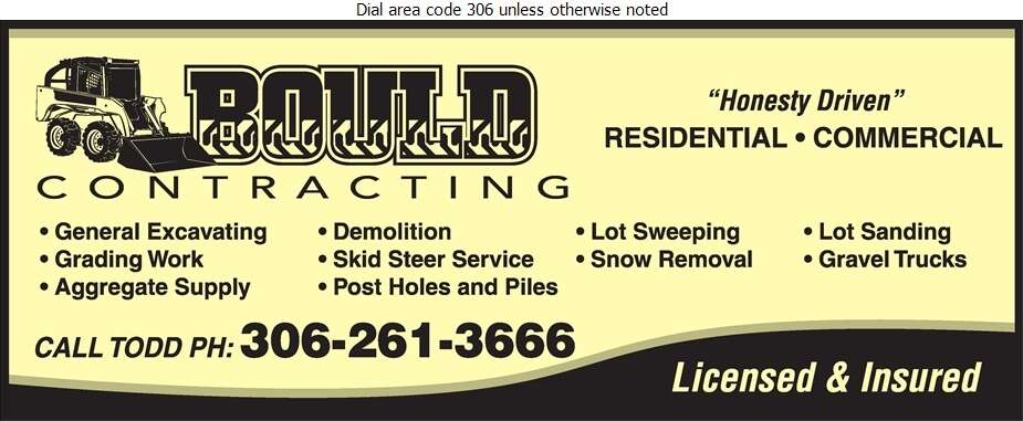 Bould Contracting - Excavating Contractors Digital Ad