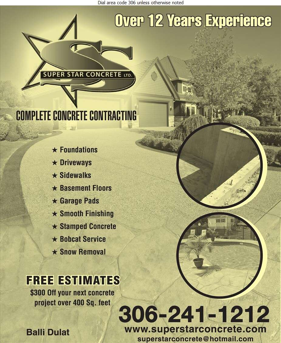Super Star Concrete Ltd - Concrete Contractors Digital Ad