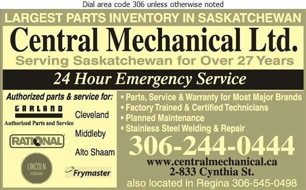 Central Mechanical - Restaurant Equipment Repair, Service & Installation Digital Ad