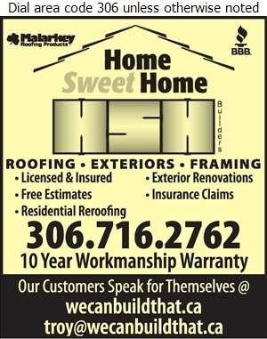 Home Sweet Home Builders - Roofing Contractors Digital Ad