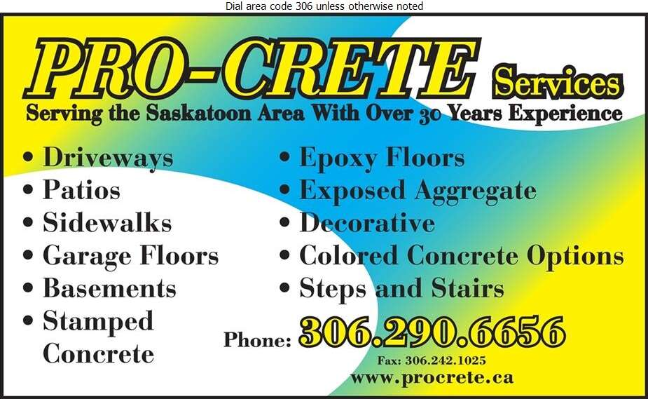 Pro-crete Services Ltd - Concrete Contractors Digital Ad