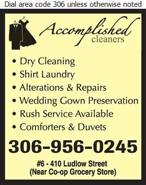 Accomplished Cleaners - Dry Cleaners Digital Ad