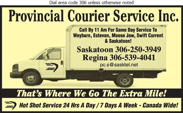 Provincial Courier Service Inc - Hot Shot Services Digital Ad