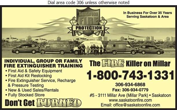 Saskatoon Fire Protection - Fire Extinguishers Digital Ad