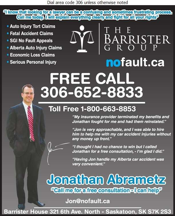Abrametz Jonathan - The Barrister Group (Barrister House - 321 6th Ave North - Saskatoon) - Lawyers Digital Ad