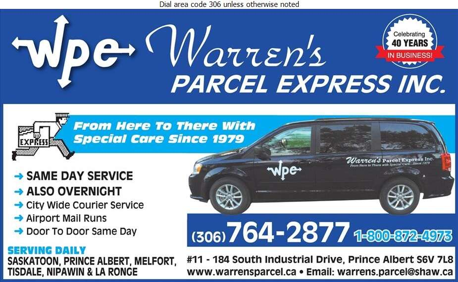 Warren's Parcel Express - Courier Service Digital Ad