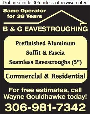 B & G Eavestroughing - Eavestroughing Digital Ad