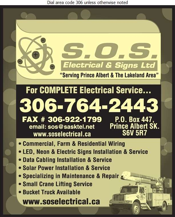 SOS Electrical (1998) Ltd - Electric Contractors Digital Ad