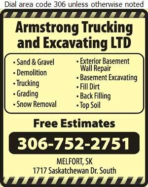 Armstrong Trucking & Excavating Ltd - Excavating Contractors Digital Ad