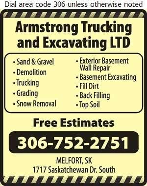 Armstrong Trucking & Excavating Ltd - Excavating Contractors Digital Ad