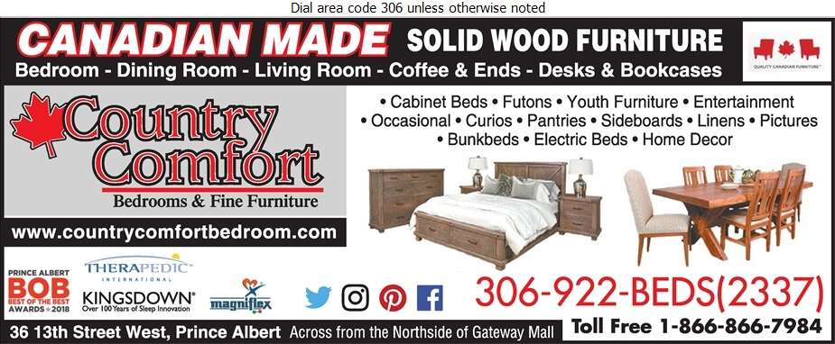 Country Comfort Bedrooms & Fine Furniture - Furniture Dealers Retail Digital Ad