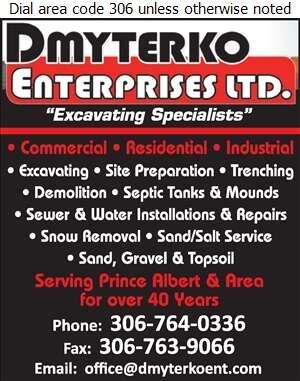 Dmyterko Enterprises Ltd - Excavating Contractors Digital Ad